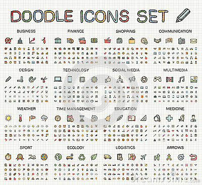 Hand drawing line icons. Vector doodle pictogram set