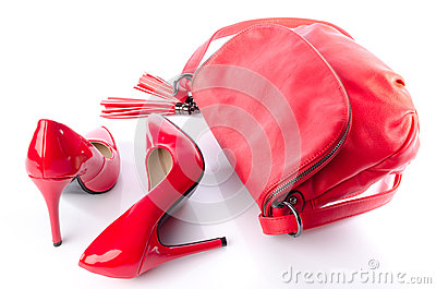 Red handbag and high heel shoes