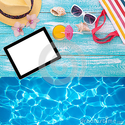 Blank empty tablet computer, summer accessories on