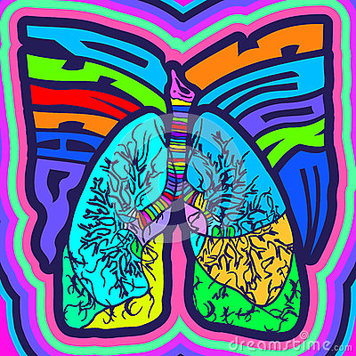 Psycho Smoke - vector illustration with lungs