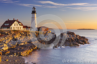 Portland Head Lighthouse, Maine, USA at sunrise