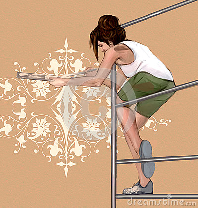Girl decorating, painting a wall with beautiful, symmetrical, architectonic, floral decorations