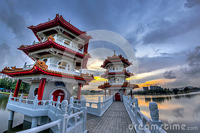 Twin Pagodas at Chinese Gardens, Singapore