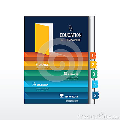 Infographic step on book shape idea. Vector illustration. succes
