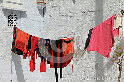 Washing hanging on a line