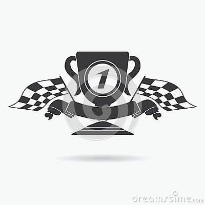 Flag icon. Checkered or racing flags first place prize cup and finish ribbon. Sport auto, speed and success, competition and winne