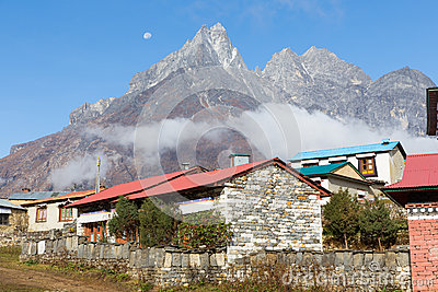 Buddhist monastery morning fog, Tengboche village, Nepal.