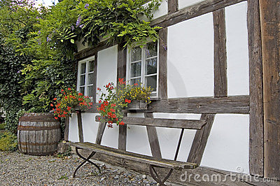 Half-Timbered House With Bench