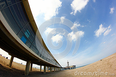 Pier on the beach in scheveningen the hague holland