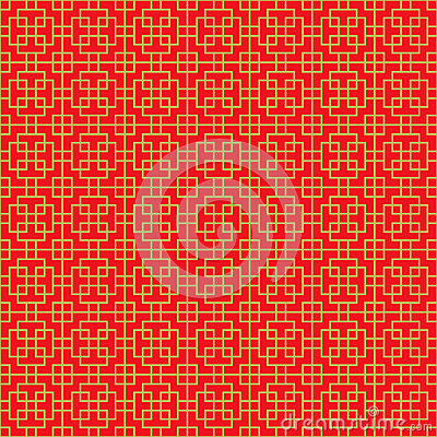 Golden seamless Chinese cross square line geometry window tracery pattern background.