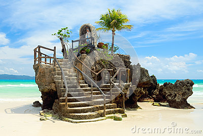 Willy's Rock on the White Beach of Boracay Island, Philippines
