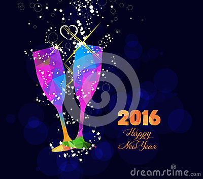 Happy new year 2016 greeting card or poster design with colorful triangle glass