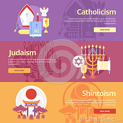 Flat banner concepts for catholicism, judaism, shintoism. Religion concepts for web banners and print materials.