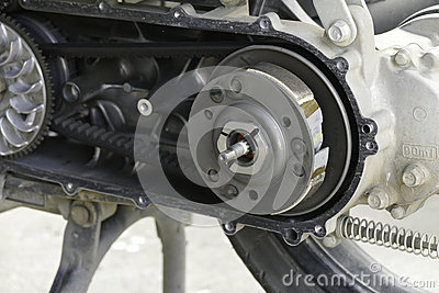 The pulley and belt of motorcycle