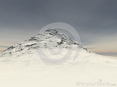 Little snow-covered rock at the height of
