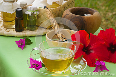 A glass cup of tisane