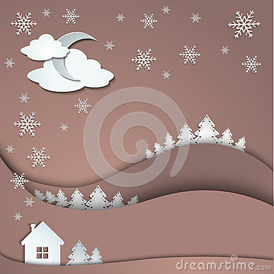 Winter background of snowflakes trees house stickers