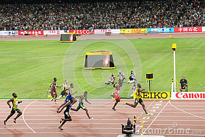 Usain Bolt powering to the finish line to win 200 metres title at the IAAF World Championships Beijing 2015