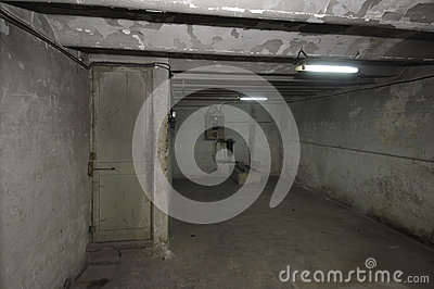 Old outdated room in the basement of a house with