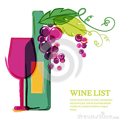 Wine bottle, glass, pink grape vine, watercolor illustration. Ab