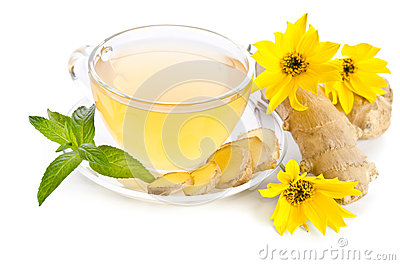 Cup of tea with ginger slices and  Echinacea flower