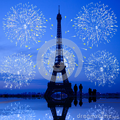 Paris fireworks at Eiffel Tower