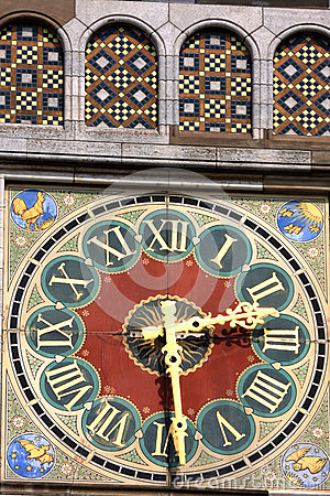 Beautiful detail, clock with Roman numerals on Amsterdam Train s