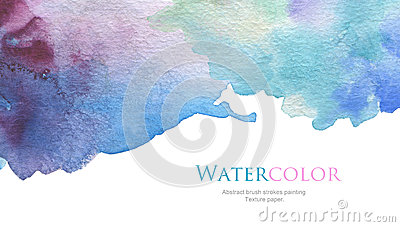 Abstract acrylic and watercolor brush strokes painted background