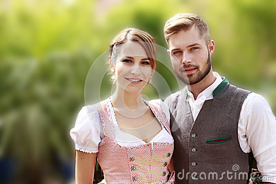 Bavarian couple in traditional costume w