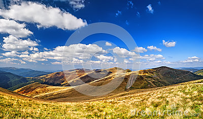 Mountains and field of green fresh grass under blue sky