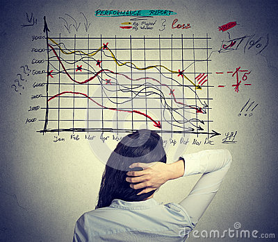 Woman solving bad economy problem. Stressful business life