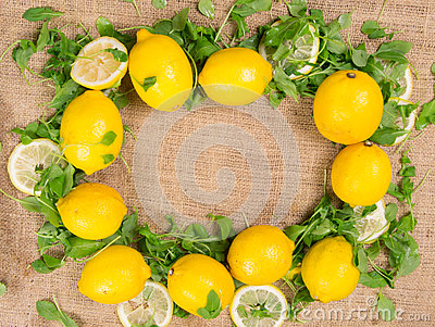 Lemons and green salad