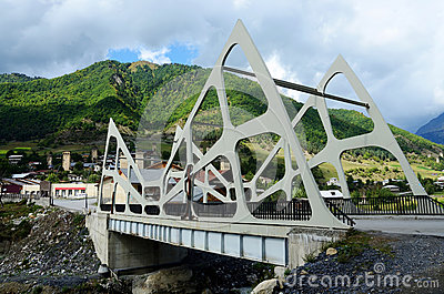 View of Mestia futuristic modern bridge,Upper Svaneti, Georgia