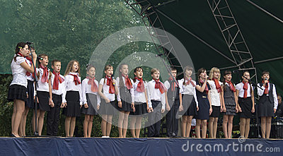 Mstera,Russia-August 8,2015: Children sing on scene at day of the city Mstera,Russia