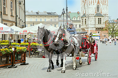 The group of tourists have excurtion on horses cart in historical part of Krakow