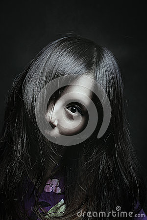 Scary portrait of japanese woman