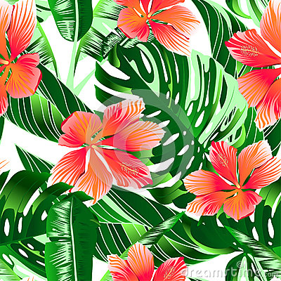 Tropical orange and pink hibiscus flowers seamless pattern