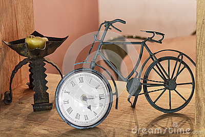 Old iron bicycle clock
