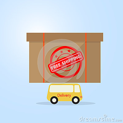 Yellow delivery van carry box on top flat design free shipping c