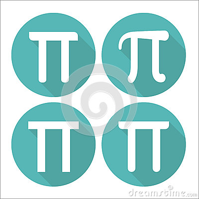 Mathematic Pi icon flat set. Vector illustration
