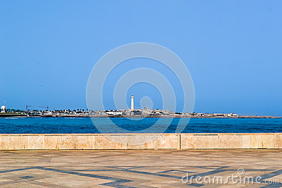 Casablanca maritime lighthouse and shore seen from Hassan II mosque terace