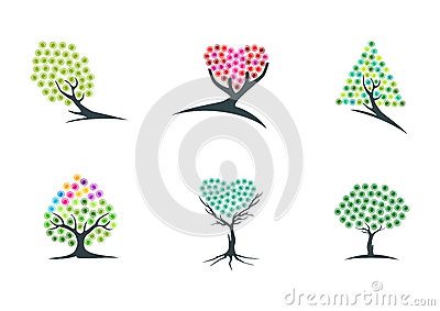 Tree, imagination, logo, dream, plant, icon, green, heart, hope, symbol, and nature hypnotherapy vector design