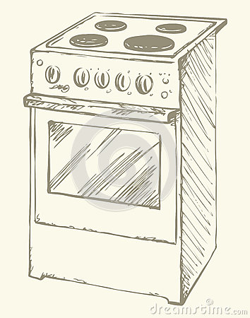 Electric Stove Vector Drawing