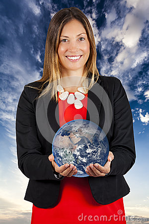 World at your hands. Woman smiling with earth in hands