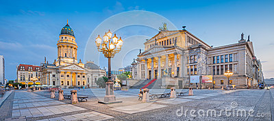 Gendarmenmarkt square panorama at dusk, Berlin, Germany