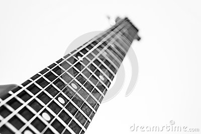 Electric guitar fretboard B&W