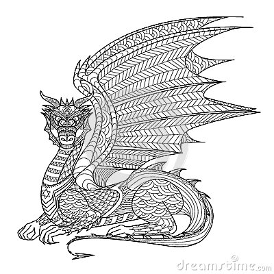 Drawing Dragon For Coloring Book