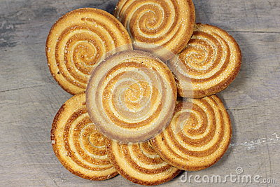 Shortbread on the texture of the board