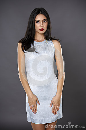 Portrait of beautiful brunette woman in a silver dress isolated