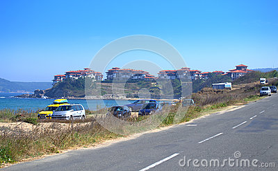 stock image of coastal road by dunes beach,bulgaria